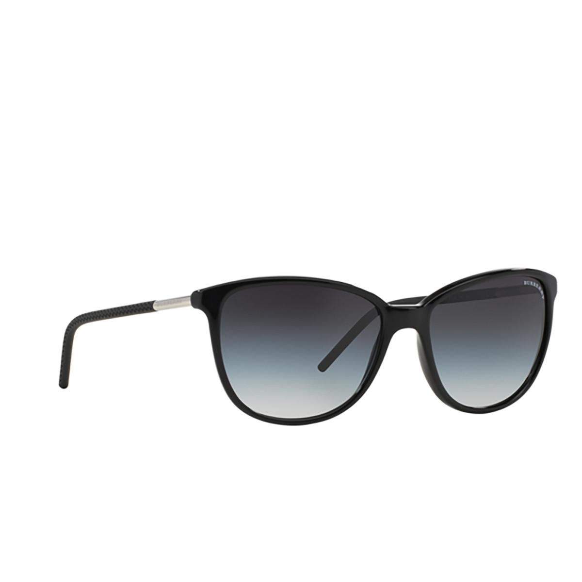 Burberry® Cat-eye Sunglasses: BE4180 color Black 30018G - three-quarters view.