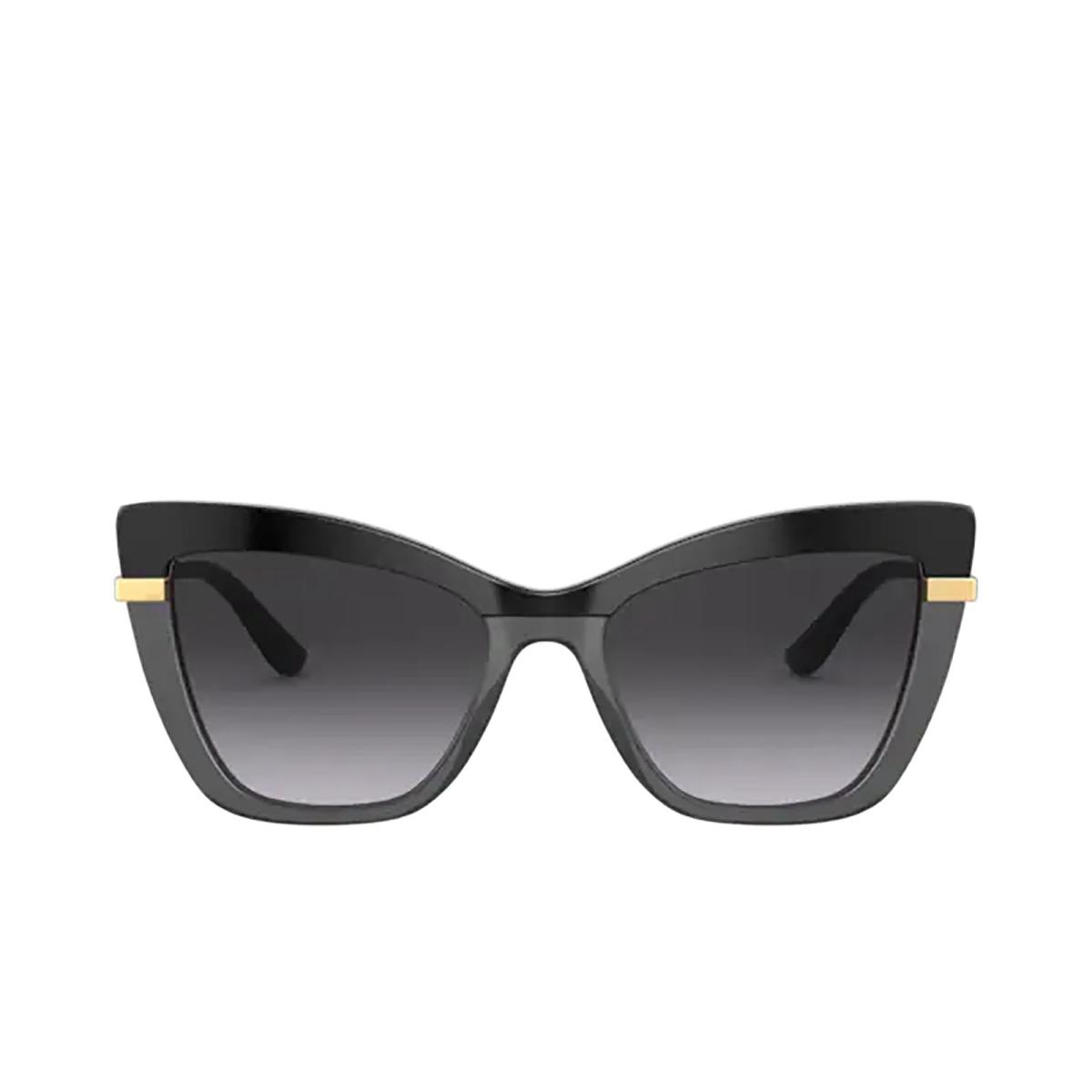 Dolce & Gabbana® Cat-eye Sunglasses: DG4374 color Black On Transparent Black 32468G.