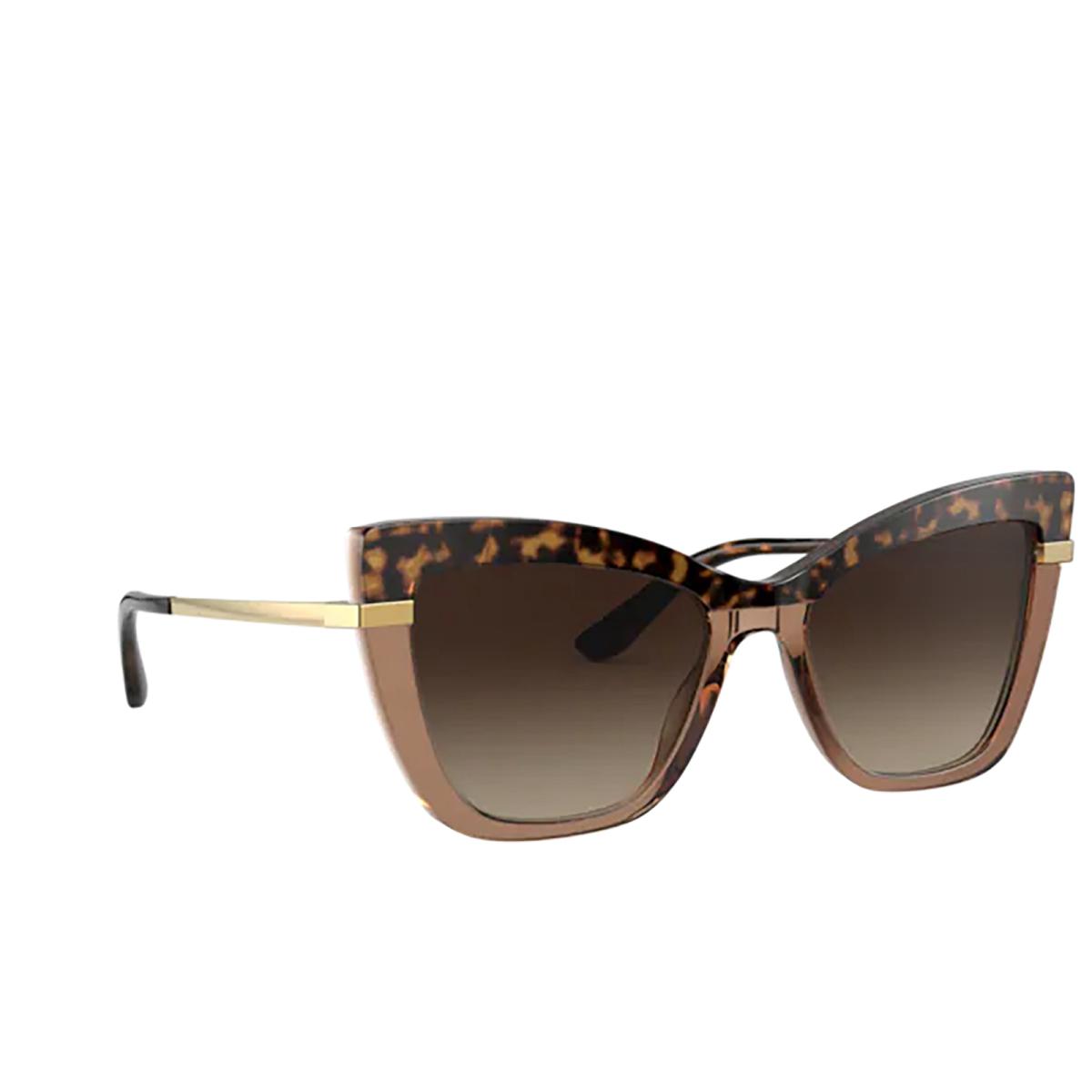 Dolce & Gabbana® Cat-eye Sunglasses: DG4374 color Havana On Transparent Brown 325613.