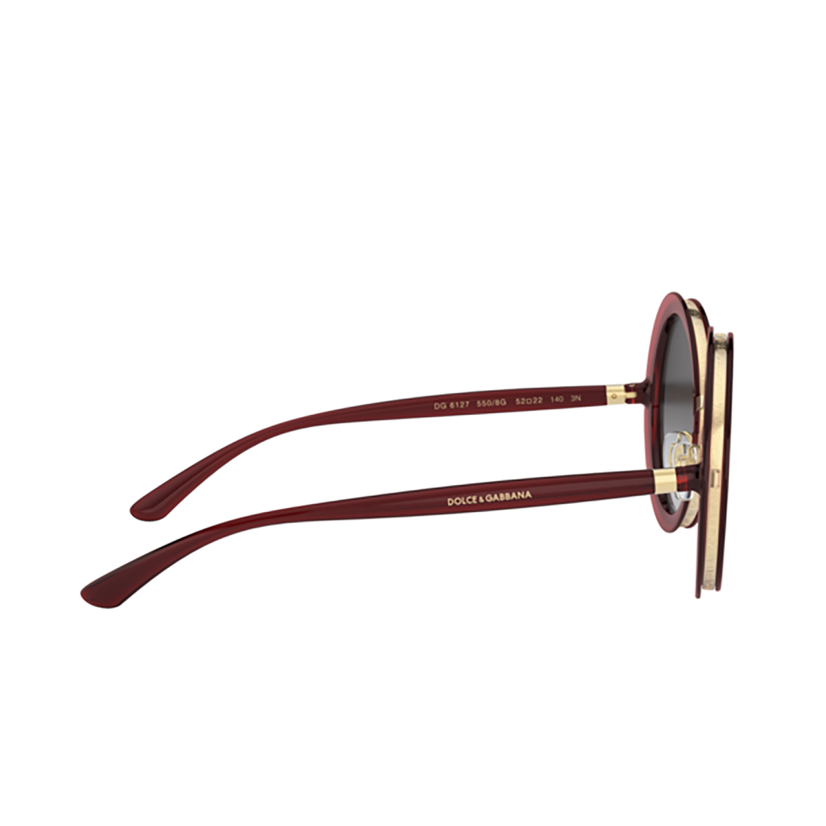 Dolce & Gabbana® Round Sunglasses: DG6127 color Transparent Red 550/8G - 3/3.