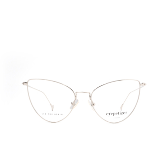 Eyepetizer® Cat-eye Eyeglasses: Natalia color Silver C 1.