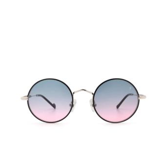 Eyepetizer® Round Sunglasses: Quatre color Black C.1-F-A-20.