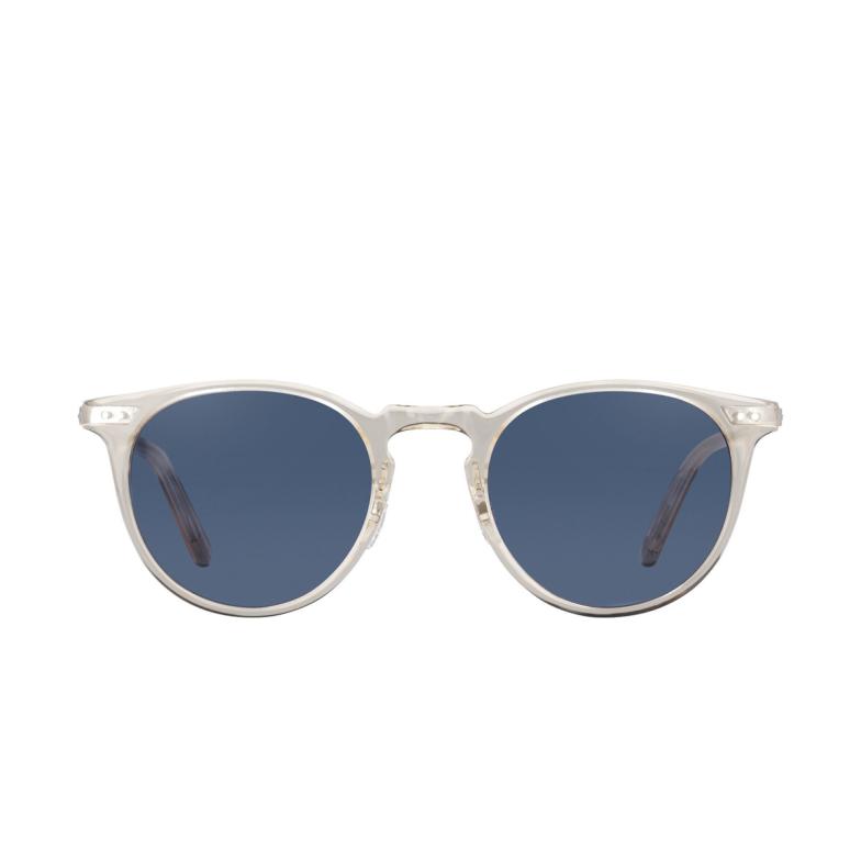 Garrett Leight® Round Sunglasses: Ocean Sun color Champagne-silver Ch-s-nvy.