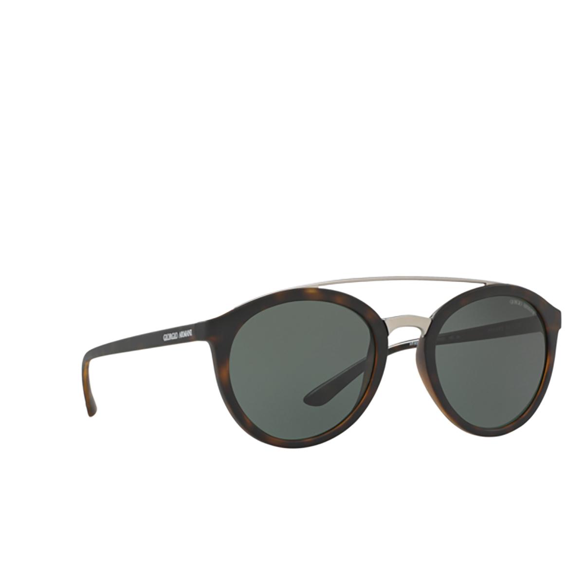 Giorgio Armani® Round Sunglasses: AR8083 color Matte Dark Havana 508971 - three-quarters view.