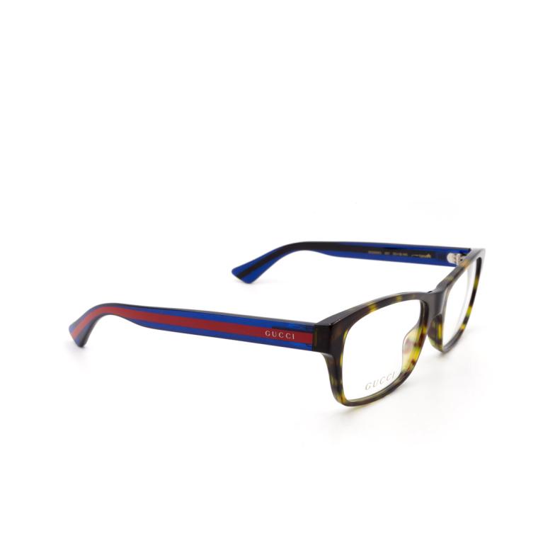 Gucci® Rectangle Eyeglasses: GG0006O color Havana 007.