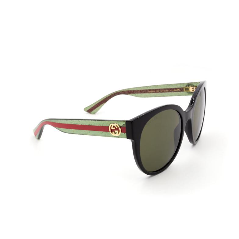 Gucci® Round Sunglasses: GG0035S color Black 002.