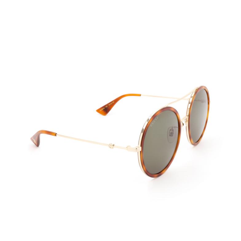 Gucci® Round Sunglasses: GG0061S color Gold 002.