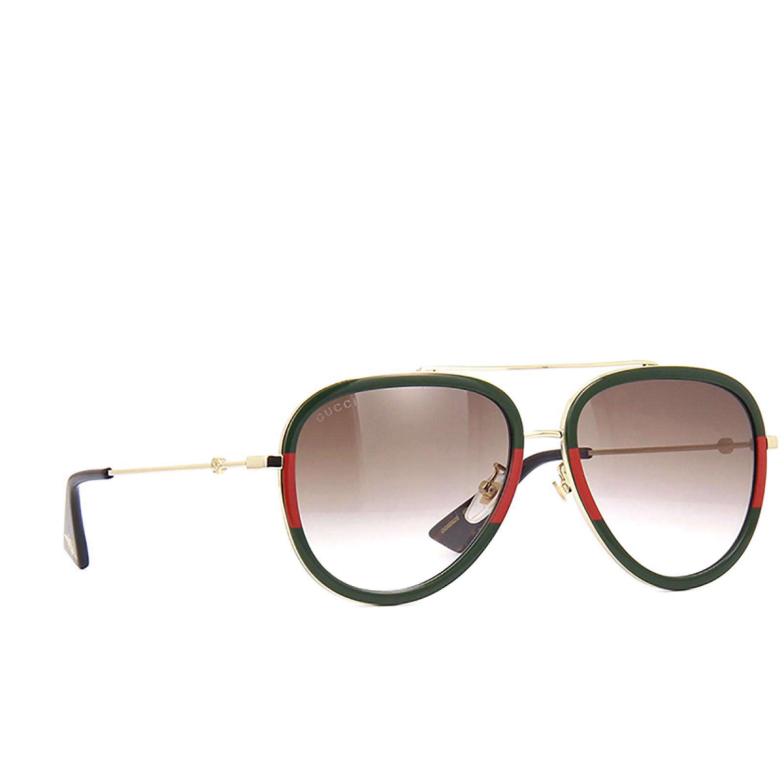 Gucci® Aviator Sunglasses: GG0062S color Gold 008.
