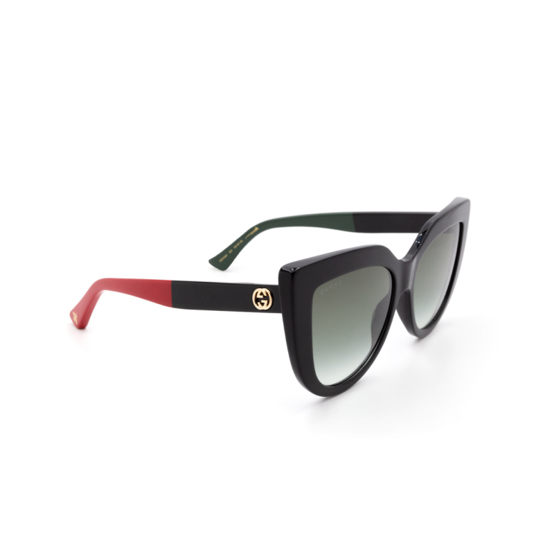 Gucci® Cat-eye Sunglasses: GG0164S color Black 003.