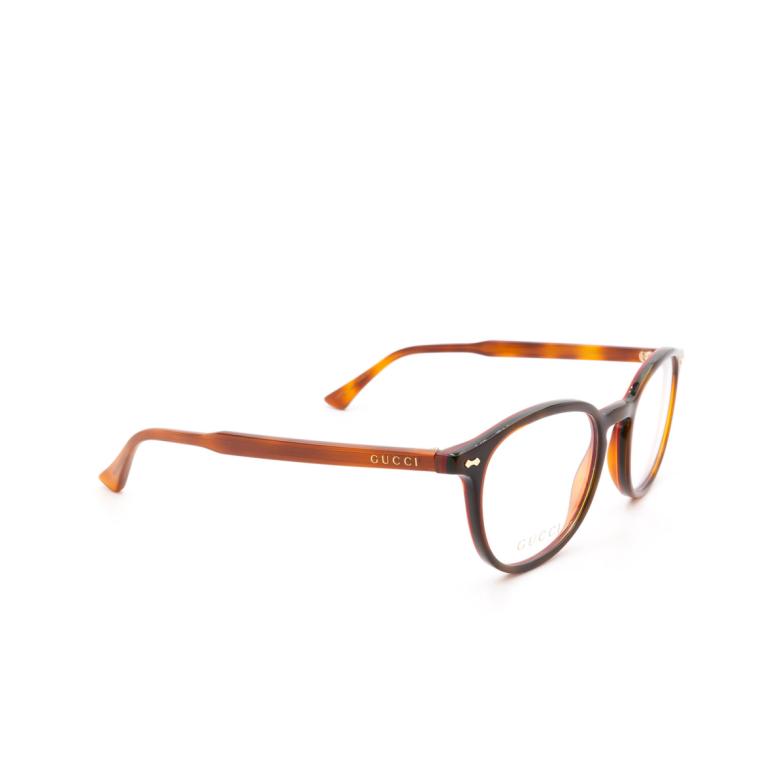 Gucci® Round Eyeglasses: GG0187O color Havana 010.