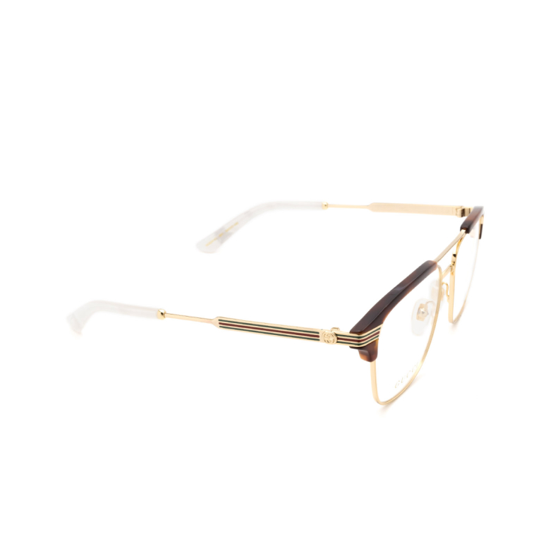 Gucci® Square Eyeglasses: GG0241O color Gold 001.