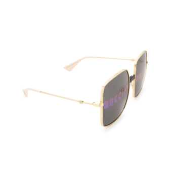 Gucci® Square Sunglasses: GG0414S color Gold 002.