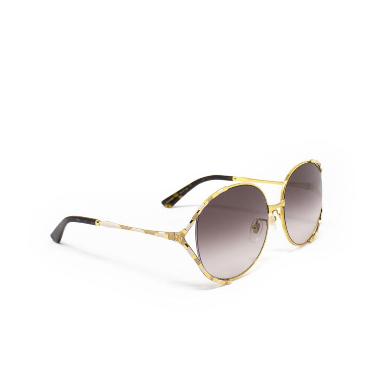 Gucci® Round Sunglasses: GG0595S color Gold 004.