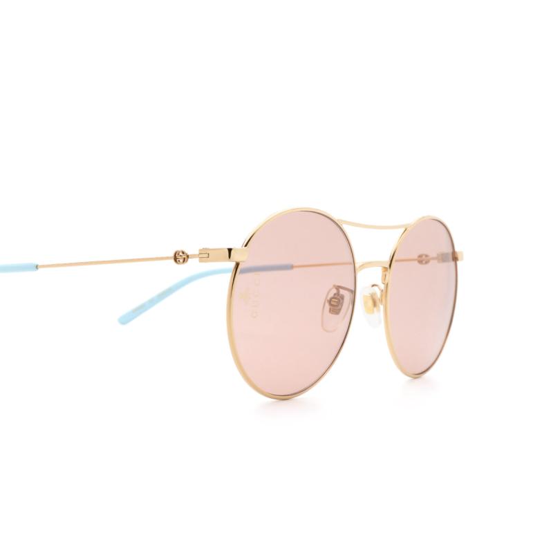 Gucci® Round Sunglasses: GG0680S color Gold 004.