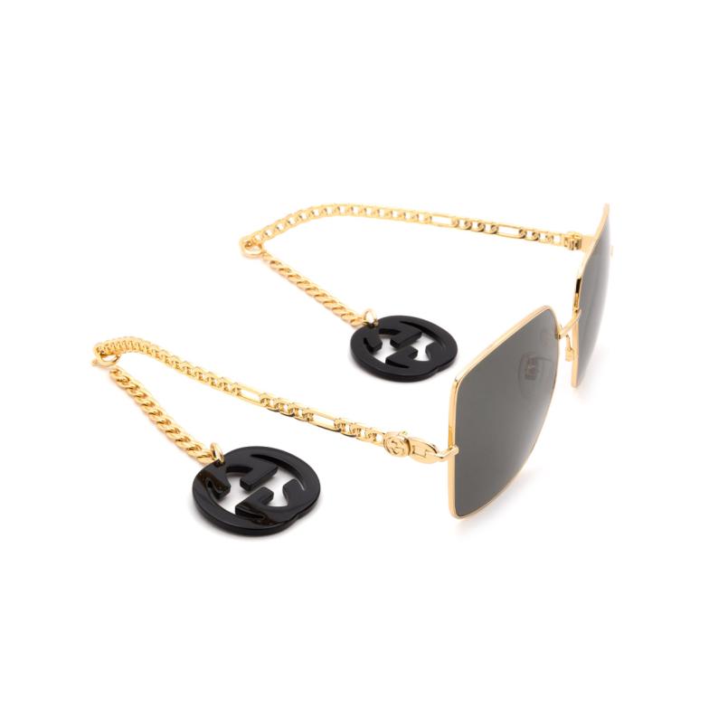 Gucci® Square Sunglasses: GG0724S color Gold 001.