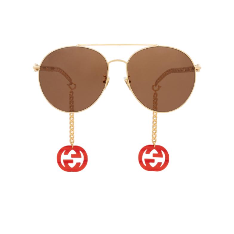 Gucci® Aviator Sunglasses: GG0725S color Gold 002.