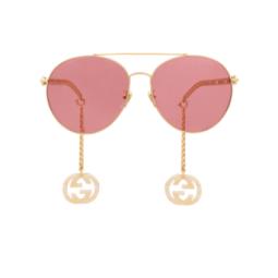Gucci® Sunglasses: GG0725S color Gold 003.