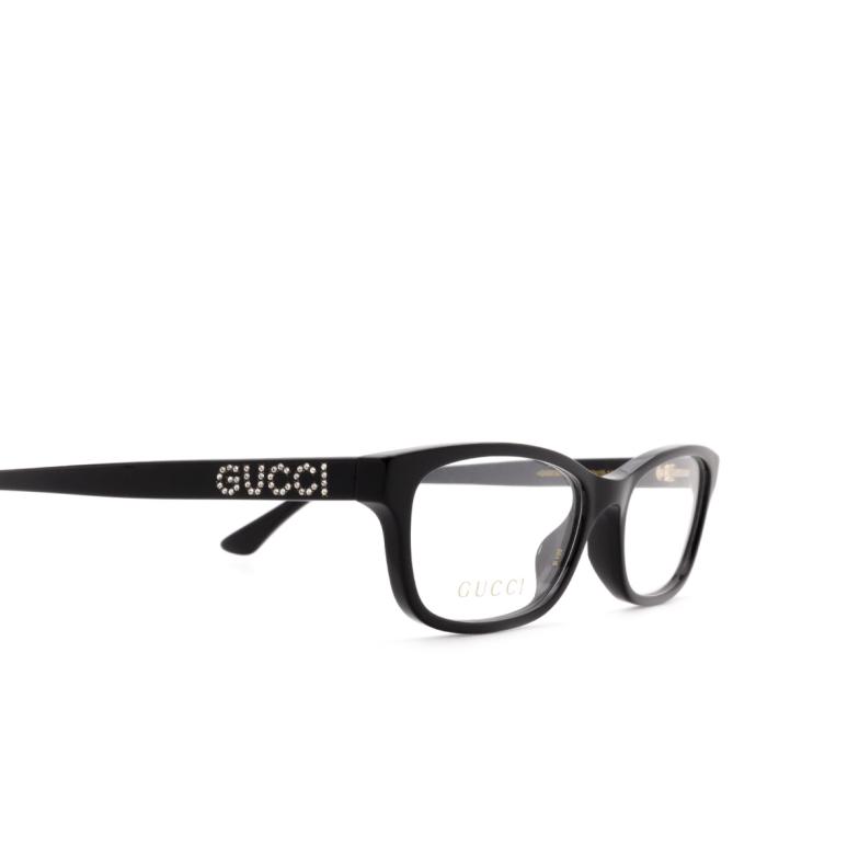 Gucci® Rectangle Eyeglasses: GG0730O color Black 005.