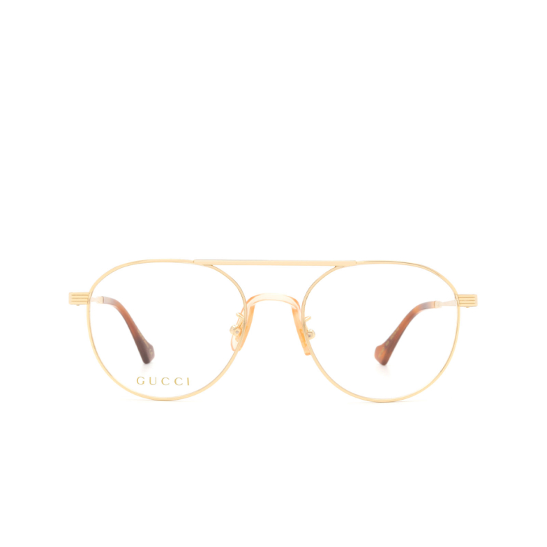 Gucci® Round Eyeglasses: GG0744O color Gold 003.