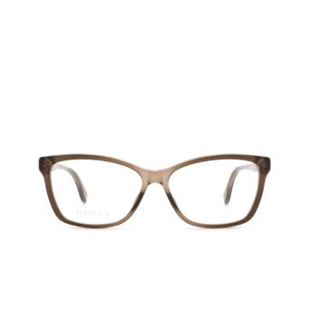 Gucci® Rectangle Eyeglasses: GG0792O color Brown 005.
