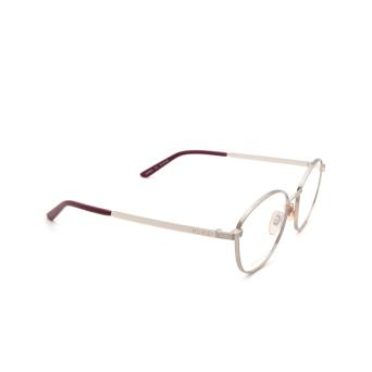 Gucci® Round Eyeglasses: GG0806O color Silver 002.