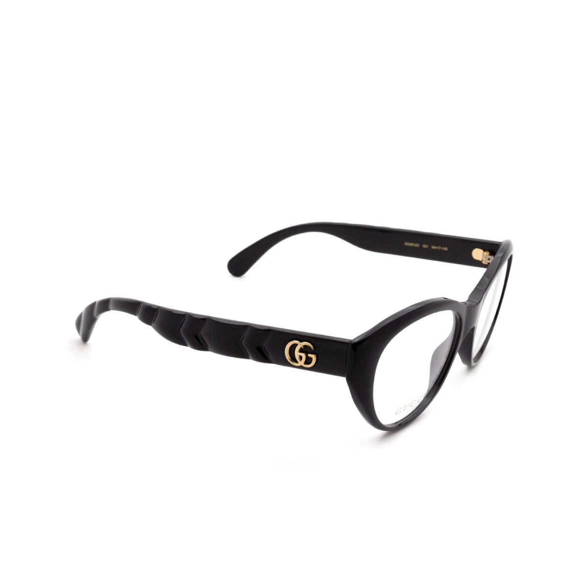 Gucci® Cat-eye Eyeglasses: GG0812O color Black 001.