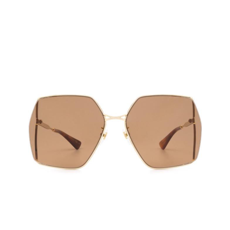 Gucci® Square Sunglasses: GG0817S color Gold 002.