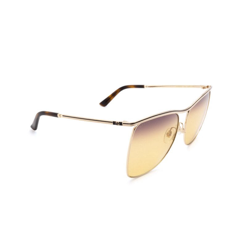 Gucci® Square Sunglasses: GG0820S color Gold 003.