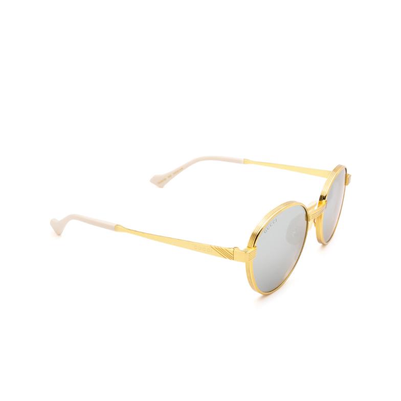 Gucci® Round Sunglasses: GG0872S color Gold 003.