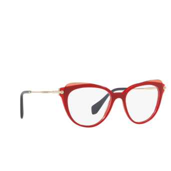 Miu Miu® Cat-eye Eyeglasses: MU 01QV color Red / Top Transparent Red VX91O1.