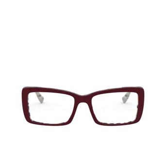 Miu Miu® Rectangle Eyeglasses: MU 03SV color Beige Havana Top Bordeaux 03E1O1.