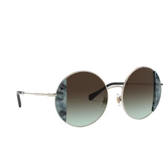 Miu Miu® Round Sunglasses: MU 57VS color Havana Light Blue / Pale Gold 08D07B.