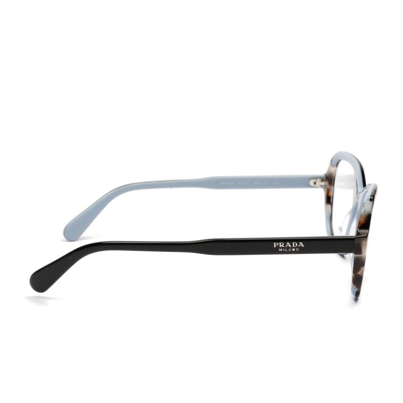 Prada® Square Eyeglasses: PR 03VV color Top Black / Azure / Spotted Brown KHR1O1.