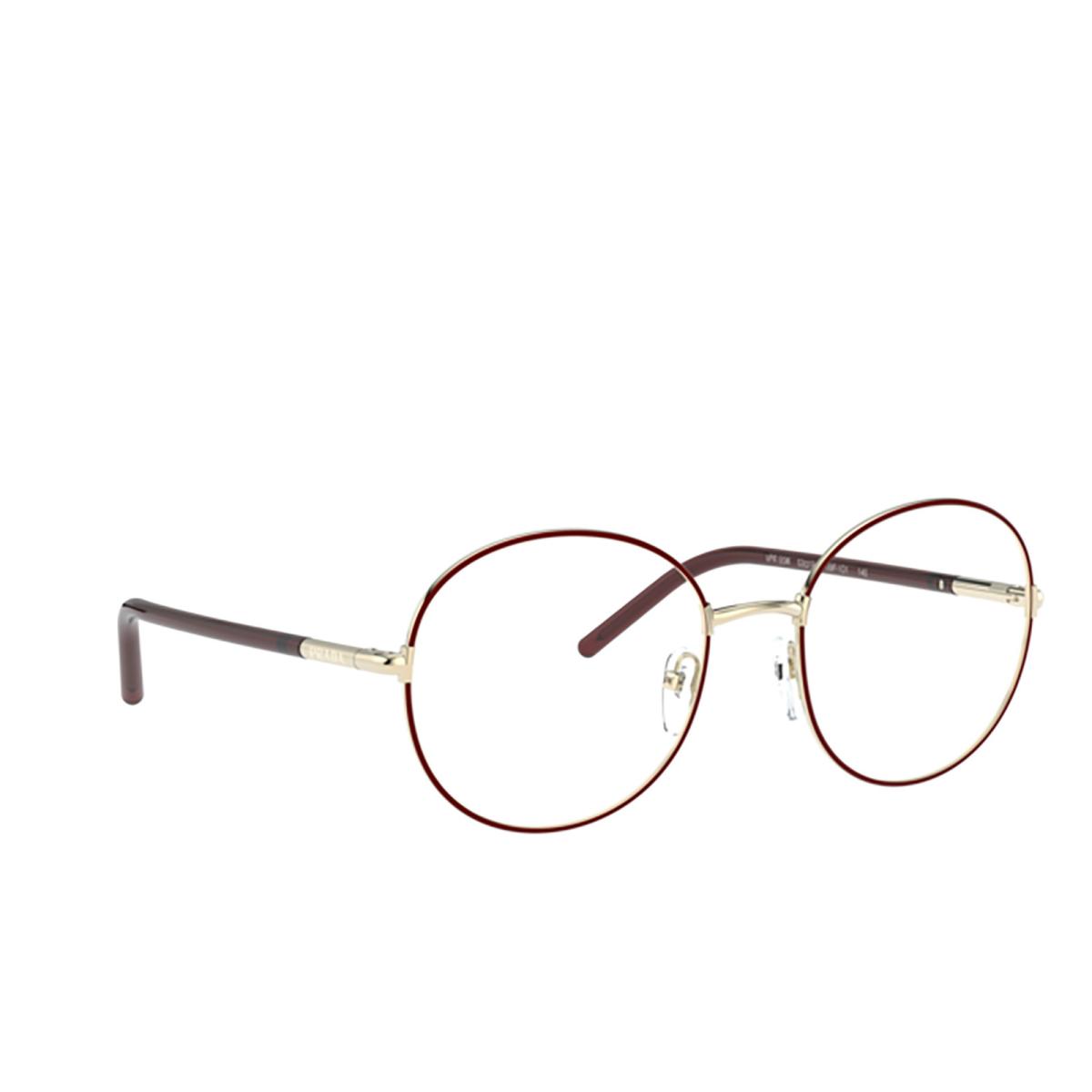 Prada® Round Eyeglasses: PR 55WV color Pale Gold / Bordeaux 09P1O1.