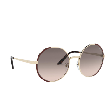 Prada® Round Sunglasses: PR 59XS color Pale Gold / Brown KOF3D0.