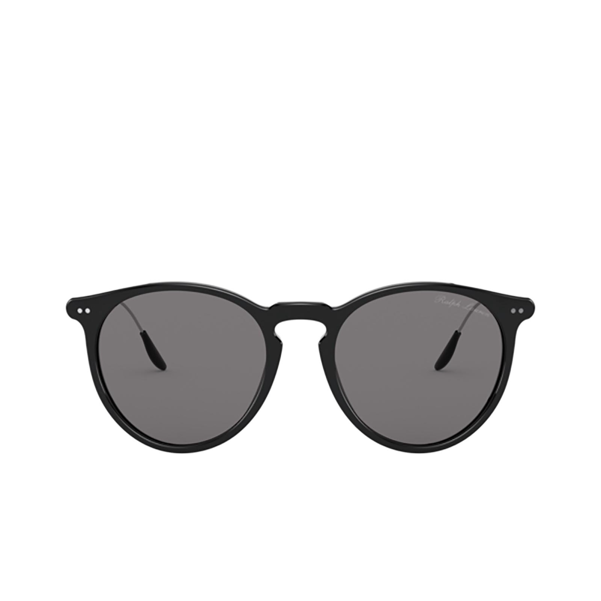 Ralph Lauren® Round Sunglasses: RL8181P color Shiny Black 5001R5 - front view.