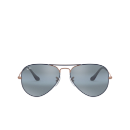 Ray-Ban® Sunglasses: Aviator Large Metal RB3025 color Matte Dark Blue On Copper 9156AJ.