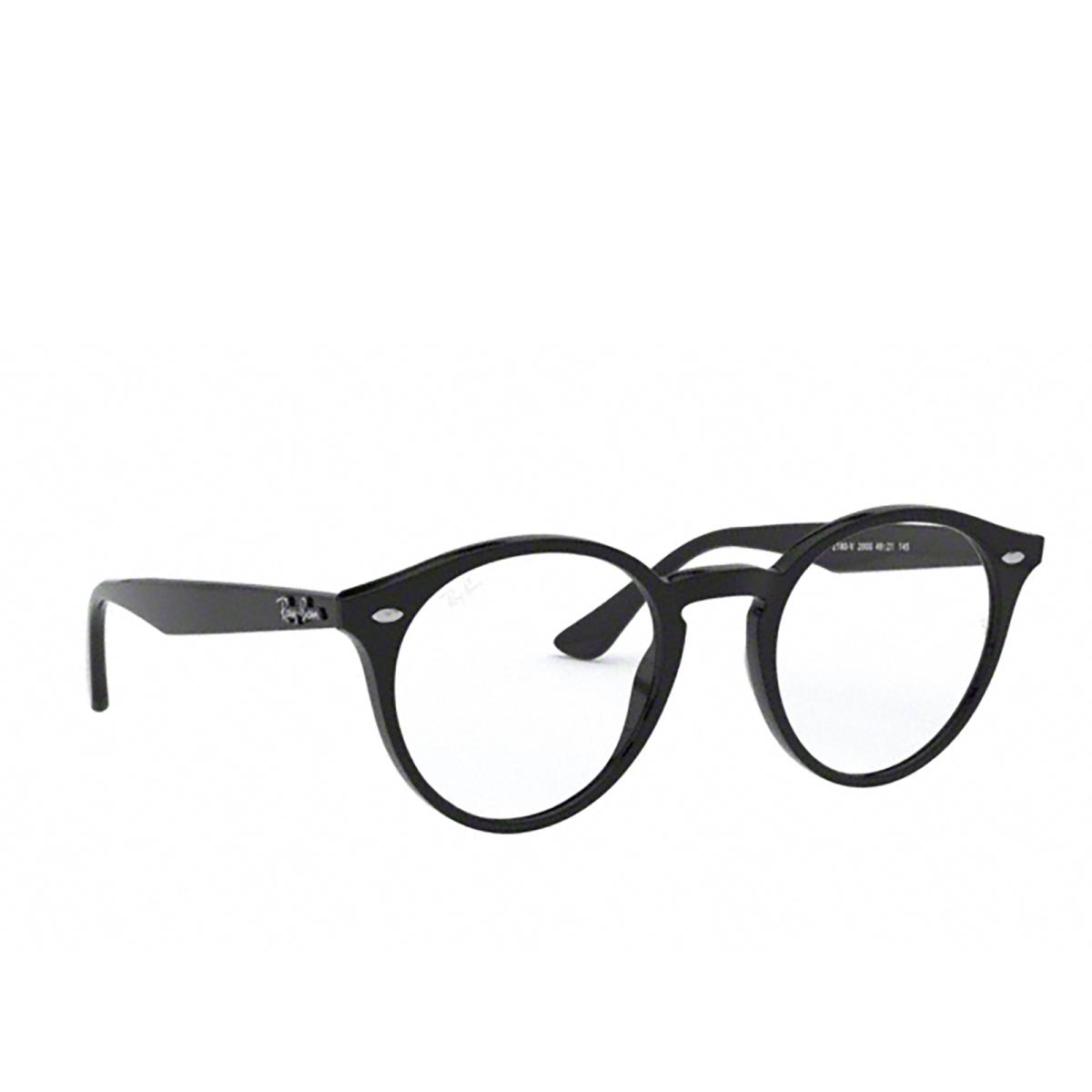 Ray-Ban® Round Eyeglasses: RX2180V color Shiny Black 2000 - three-quarters view.