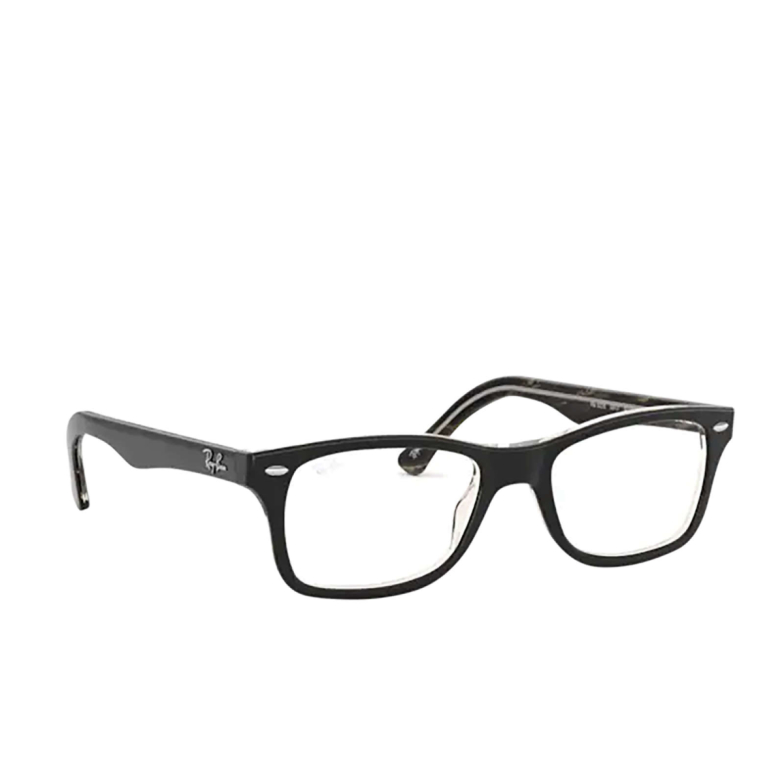 Ray-Ban® Square Eyeglasses: RX5228 color Top Black / Dark Brown / Yellow 5912.