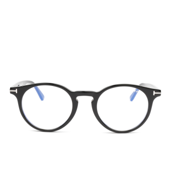Tom Ford® Round Eyeglasses: FT5557-B color Shiny Black 001.