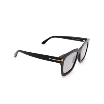 Tom Ford® Square Sunglasses: Sari FT0690 color Shiny Black 01C.