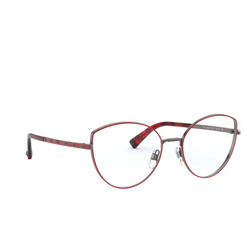 Valentino® Cat-eye Eyeglasses: VA1018 color Gunmetal / Red 3012.