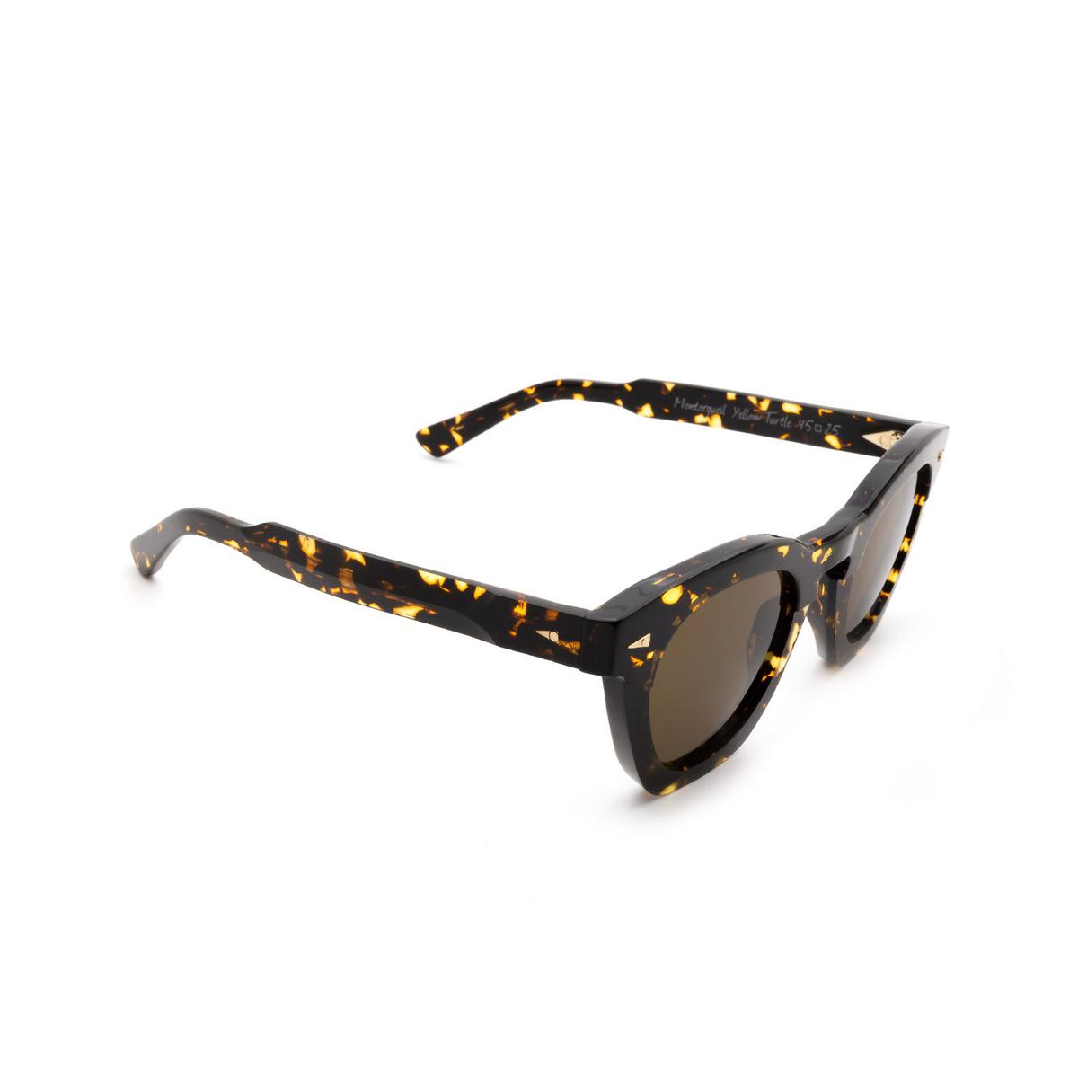 Ahlem® Square Sunglasses: Montorgueil color Yellow Turtle.