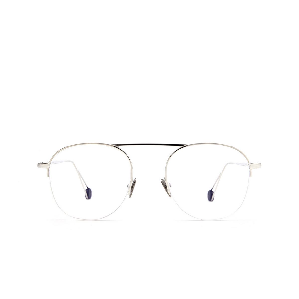 Ahlem® Round Eyeglasses: Voltaire color White Gold.