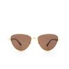 Balenciaga® Irregular Sunglasses: BB0011S color Gold 002 - product thumbnail 1/3.