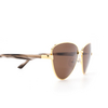 Balenciaga® Irregular Sunglasses: BB0011S color Gold 002 - product thumbnail 3/3.