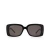Balenciaga® Rectangle Sunglasses: BB0048S color Black 001 - product thumbnail 1/3.