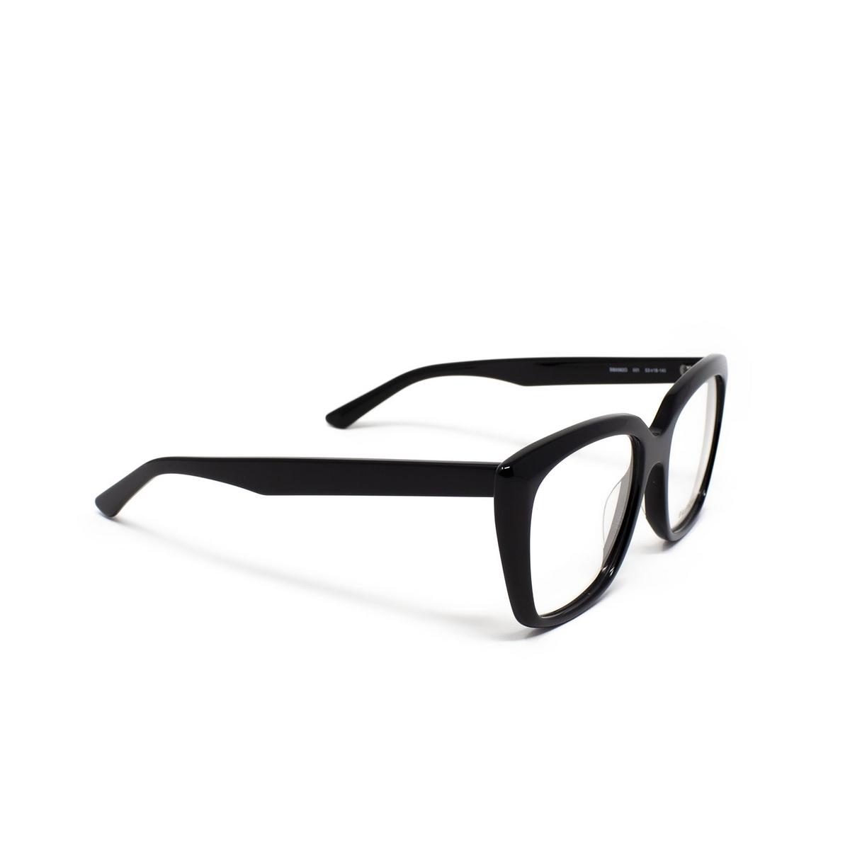 Balenciaga® Square Eyeglasses: BB0062O color Black 001 - three-quarters view.