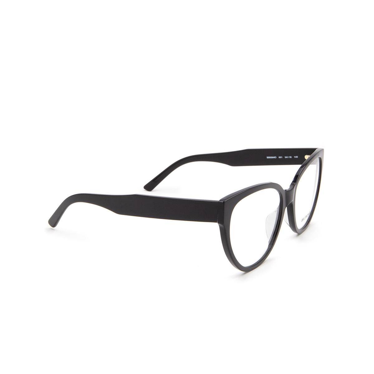 Balenciaga® Butterfly Eyeglasses: BB0064O color Black 001 - three-quarters view.