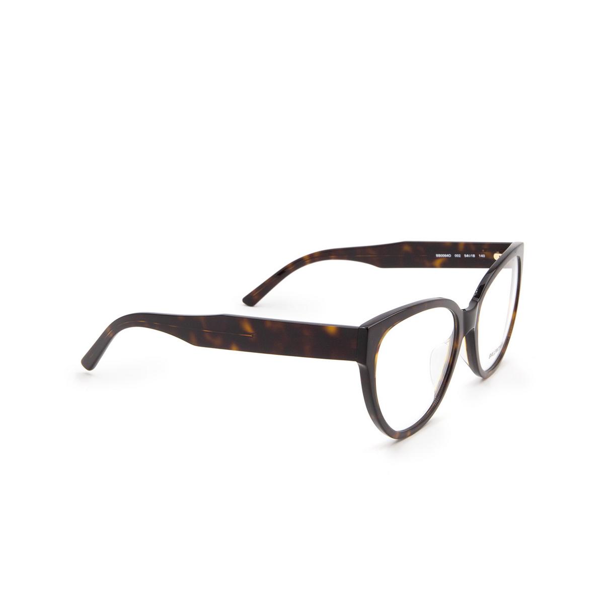 Balenciaga® Butterfly Eyeglasses: BB0064O color Havana 002 - three-quarters view.